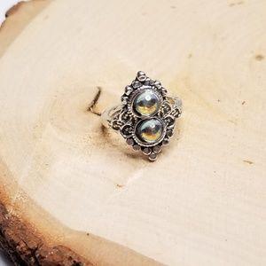 Elegant Silver Tone Faux Opal Gem Fashion Ring 7